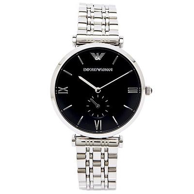EMPORIO ARMANI 復古 手錶  AR1676  ~黑面x銀 40mm