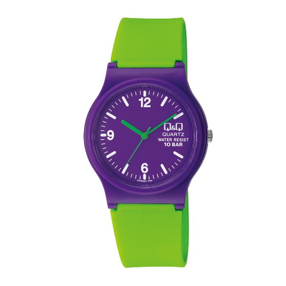 Q&Q 日系個性混搭甜蜜糖果潮流錶-綠紫/35mm