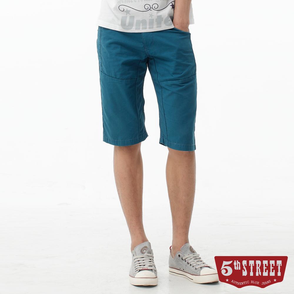5th STREET 街霸剪接休閒五分褲-男-寶石藍