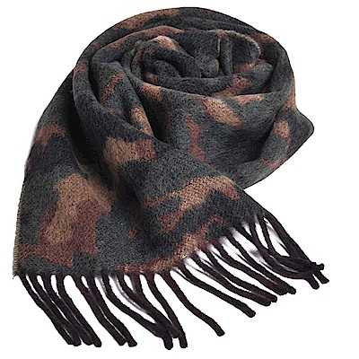 RALPH LAUREN POLO 義大利製刺繡LOGO雙面迷彩紋羊毛圍巾(深迷彩)