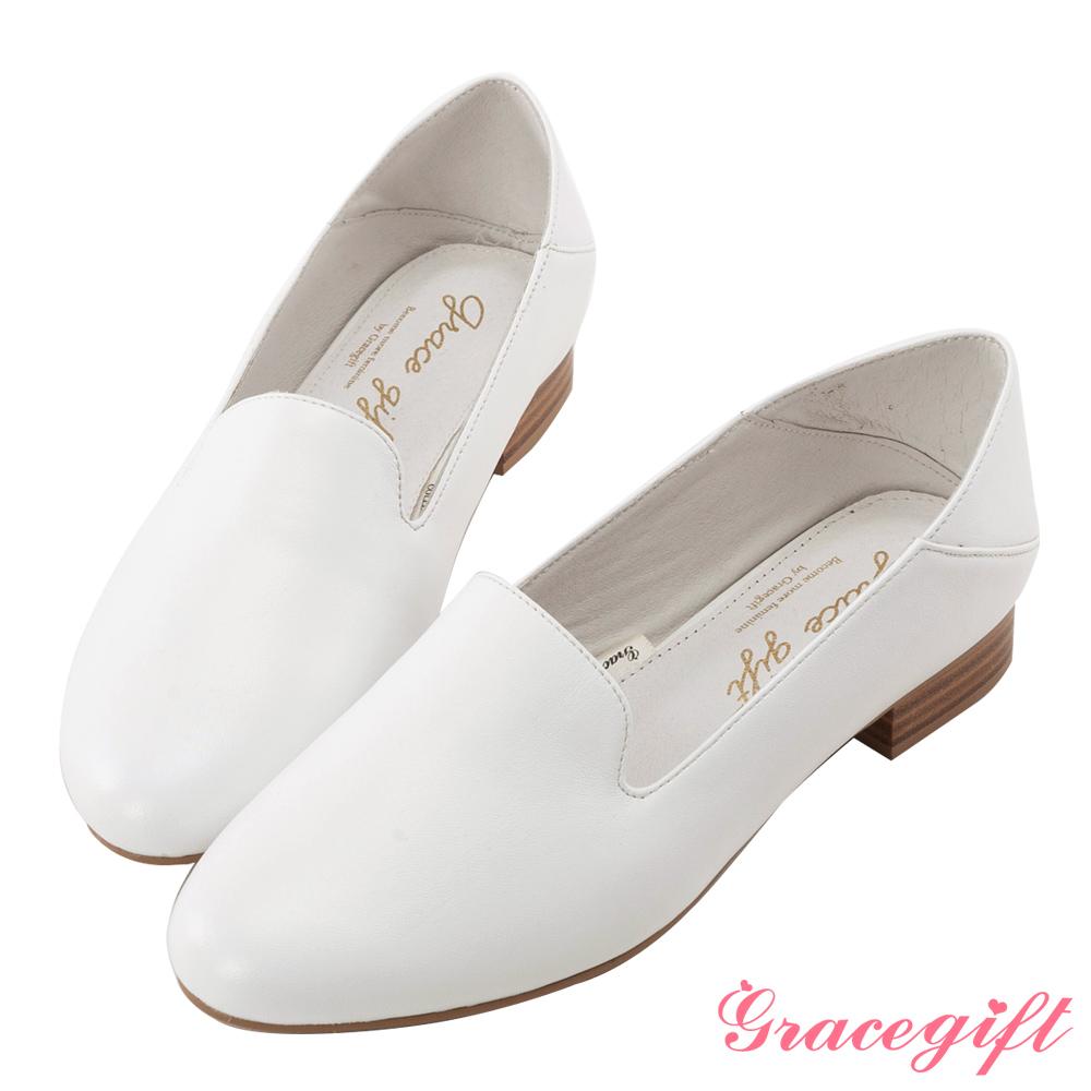 Grace gift-全真皮素面2way樂福鞋 白