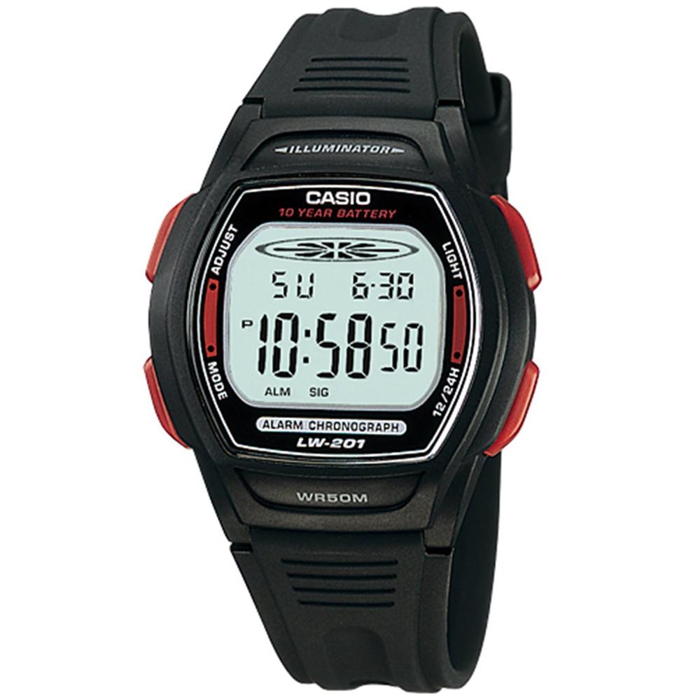 CASIO 10年電量電子運動錶(LW-201-4A)-紅按鍵