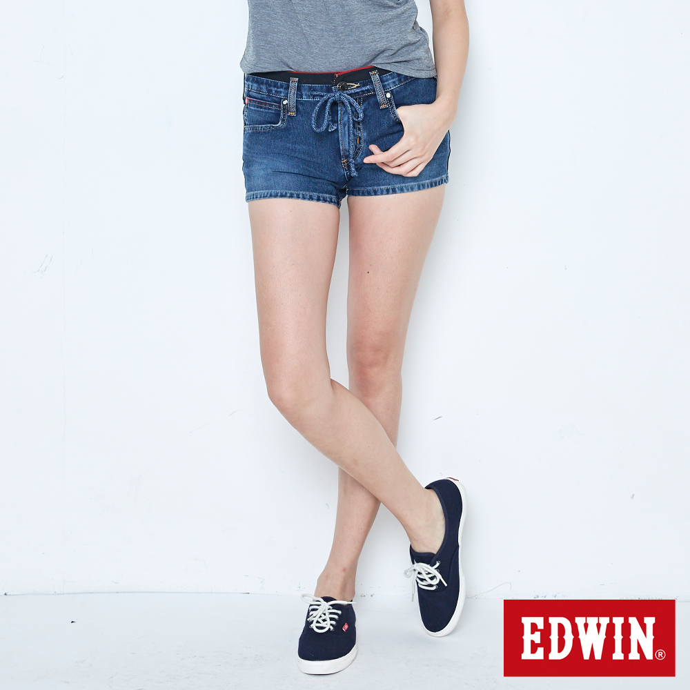 EDWIN 迦績褲 JERSEYS 黑腰頭牛仔短褲-女-拔洗藍