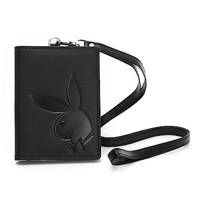 PLAYBOY- 證件夾 大兔頭LOGO系列-經典黑