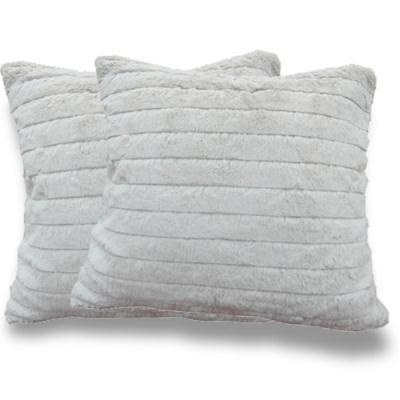 范登伯格 - 浪花 雙面絨毛抱枕 (兩入一組 - 灰 - 50x50cm)