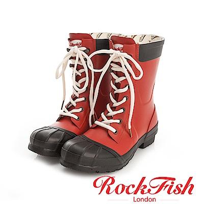 ROCKFISH 中性帥氣風短筒綁帶雨靴 摩登系列 黑x紅