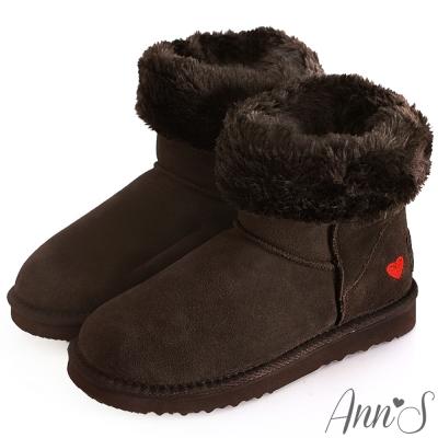 Ann'S甜美女孩-刺繡愛心2way可愛雪靴 咖