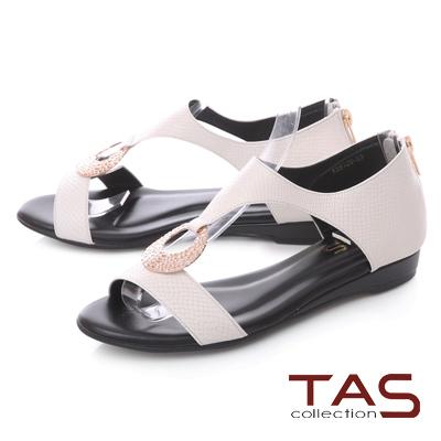 TAS蛇紋金屬圓飾後包涼鞋-實搭白