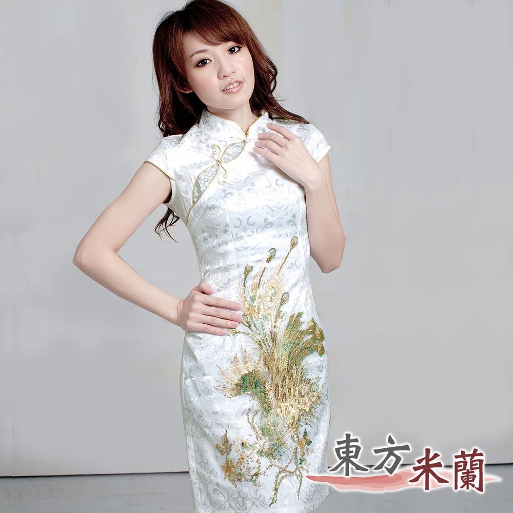 【東方米蘭】淡雅中國風‧白色緹花布祥鳳亮片刺繡旗袍