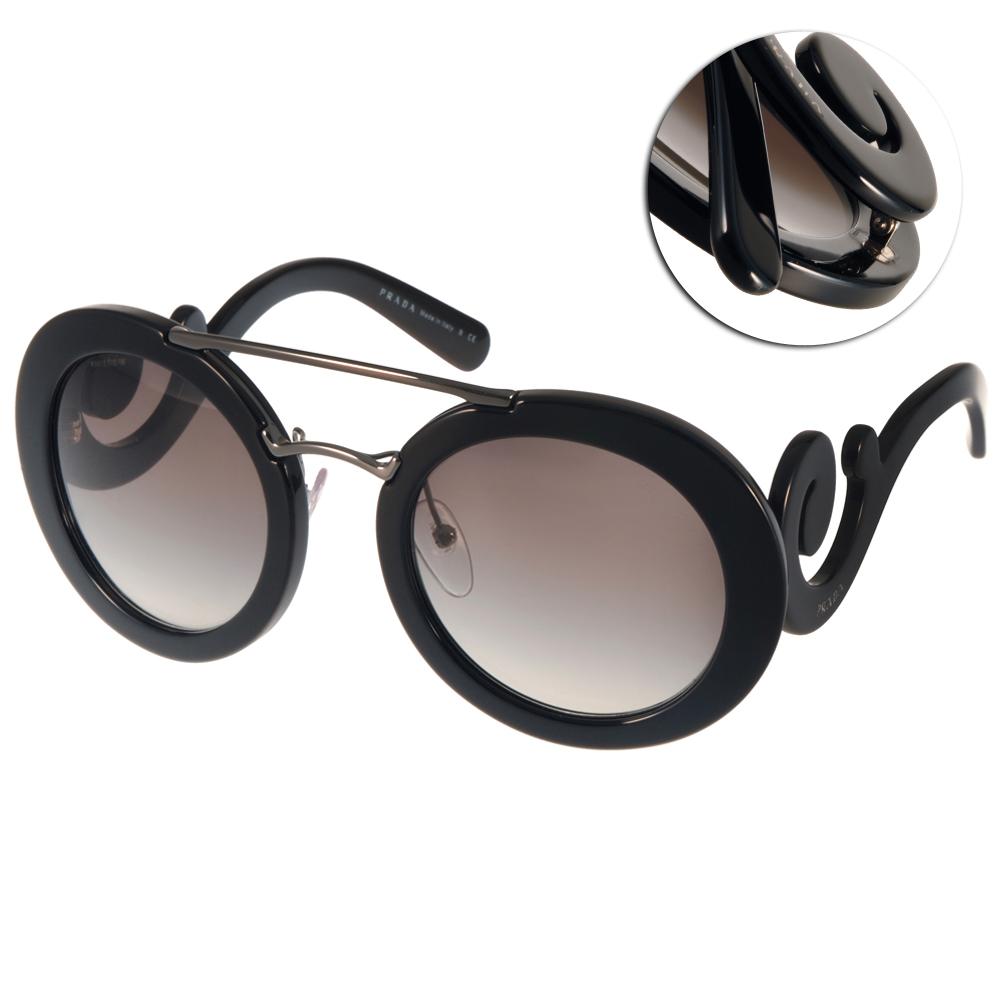PRADA太陽眼鏡 復古圓框造型款/黑#PR13S 1AB0A7