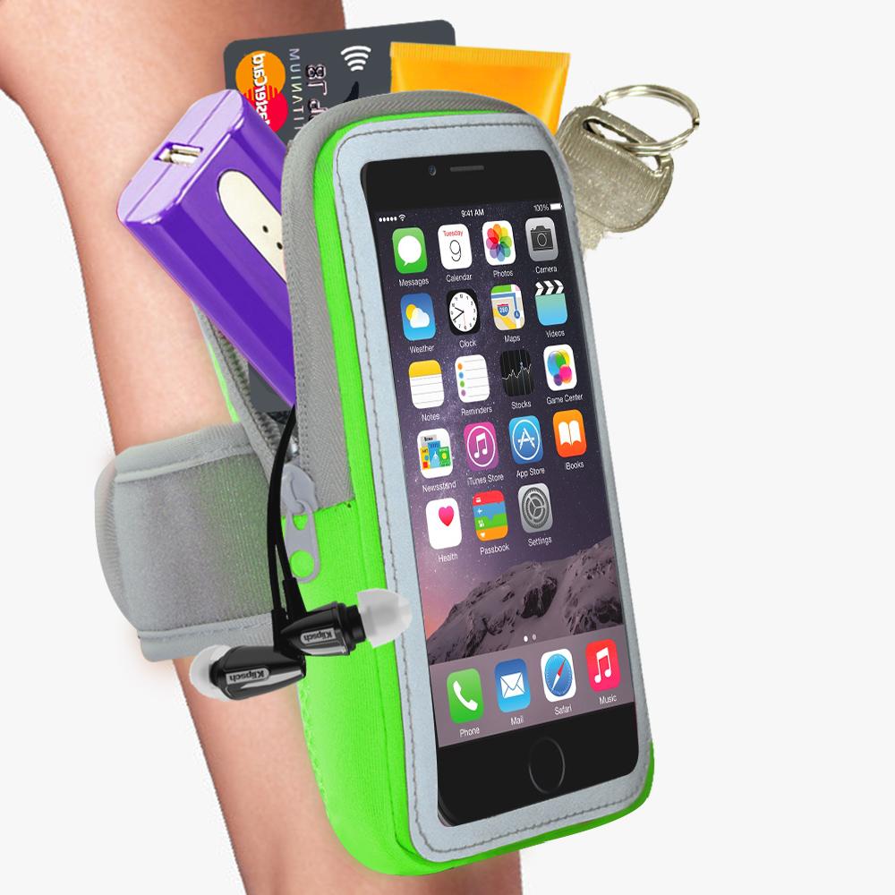 雙層運動手機臂套-防水反光觸控-綠色X5.7吋以下通用 活力揚邑