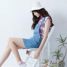 Victoria 格紋落肩短袖襯衫-女-桃藍格