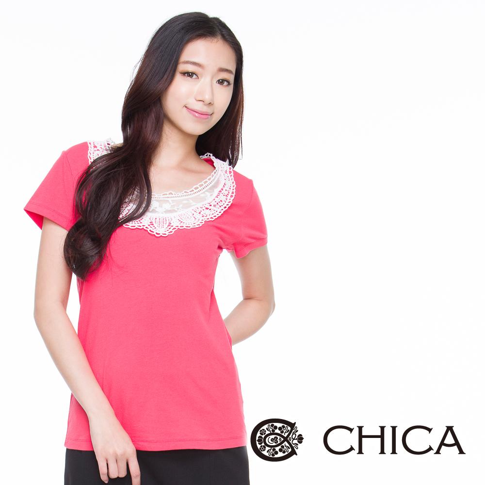 CHICA 戀戀巴黎雕花短袖上衣(繽紛4色)