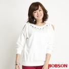 BOBSON 女款鑽飾裸肩長袖上衣(米白81)