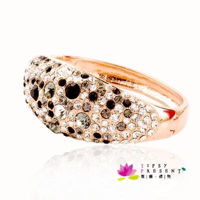 微醺禮物 施華洛世奇水晶元素 黑白鑽 寬版 手環