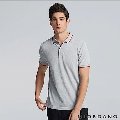 GIORDANO  男裝經典撞色立領短袖POLO衫-29 雪花中灰