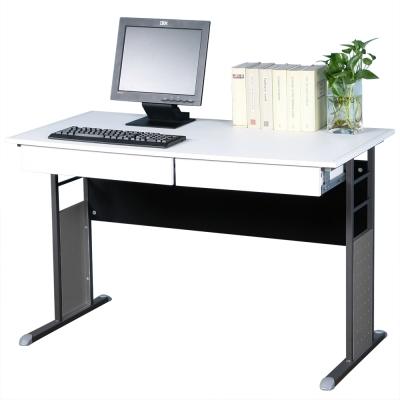 Homelike 巧思辦公桌 炫灰系列-白色仿馬鞍皮120cm(附二抽屜)