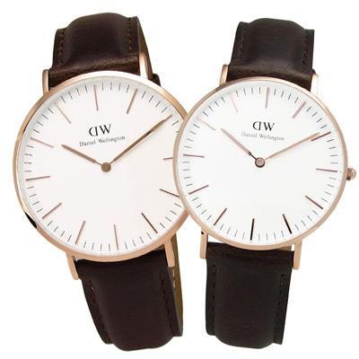 DW Daniel Wellington 現代簡約真皮對錶-白x棕/40mm+36mm