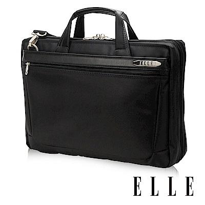 ELLE HOMME 紳士皮革公事包14吋筆電置物層 側背手提兩用設計-黑
