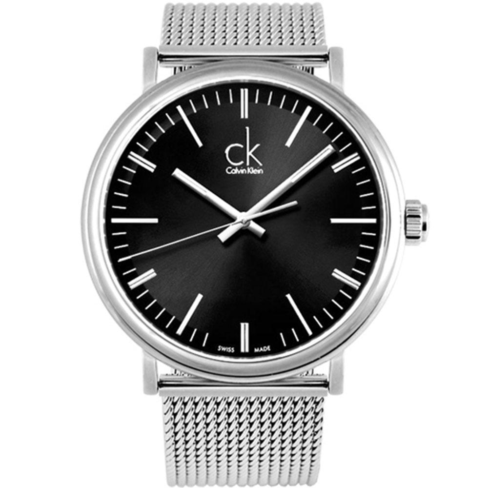 cK Surround 經典大三針米蘭腕錶-黑/43mm