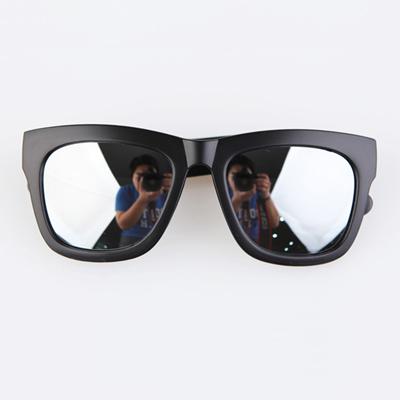 梨花HaNA 歐美時尚情侶反光水銀霧黑框太陽眼鏡-水銀銀鏡片