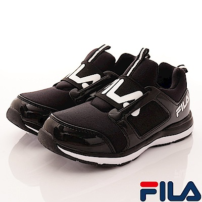 FILA頂級童鞋 輕量襪套式慢跑款FO02S-001黑(中大童段)