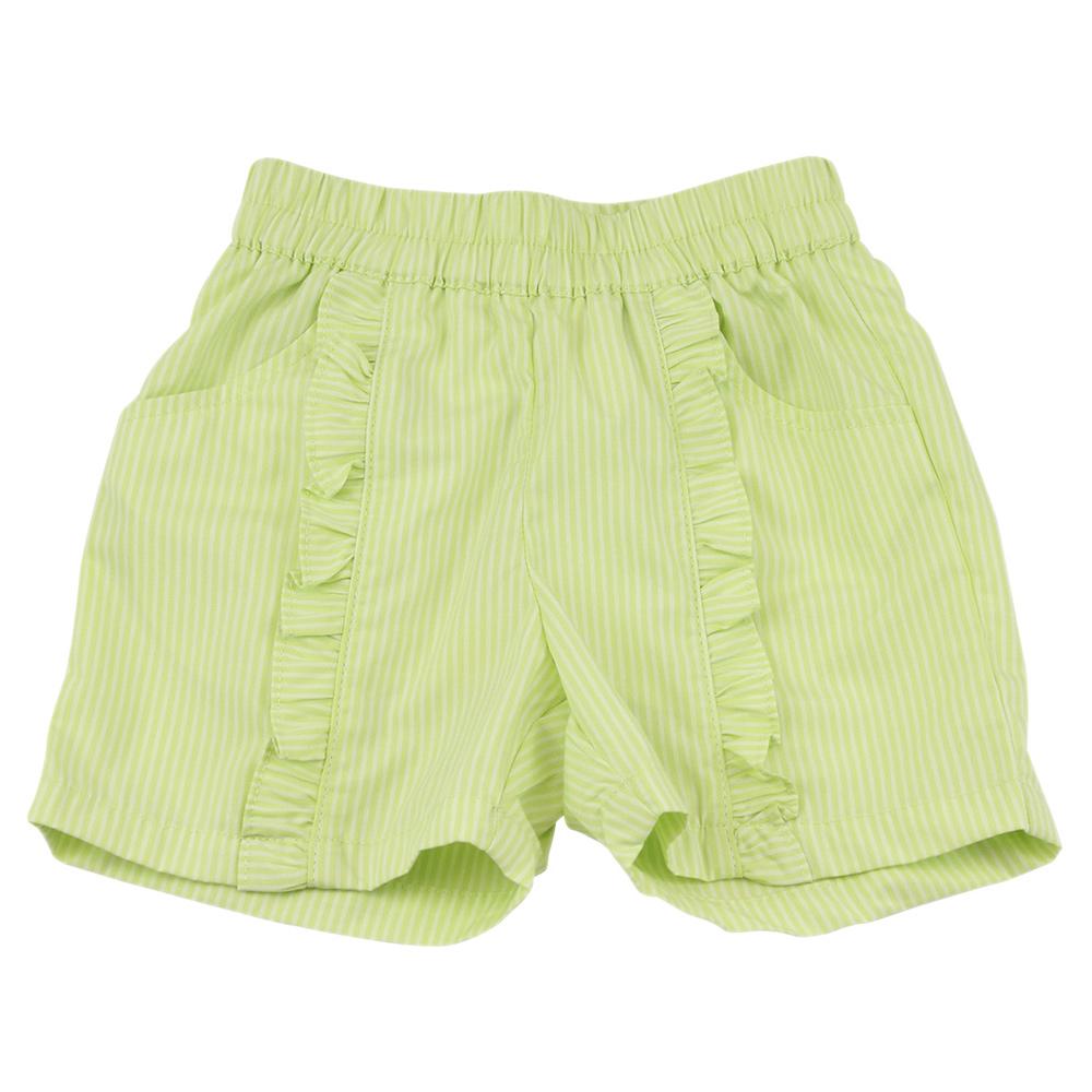 愛的世界 MYBABY 純棉荷葉邊直條紋短褲-果綠/4~8歲