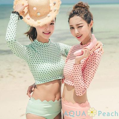 點點波浪花邊水母衣兩件式泳衣 (共二色)-AQUA Peach