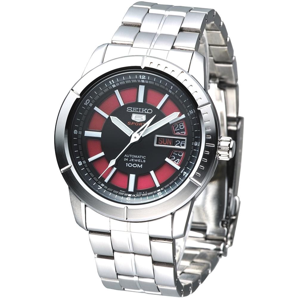 SEIKO 盾牌5號終極鬥士24石機械腕錶(SRP339K1)-紅x黑/42mm