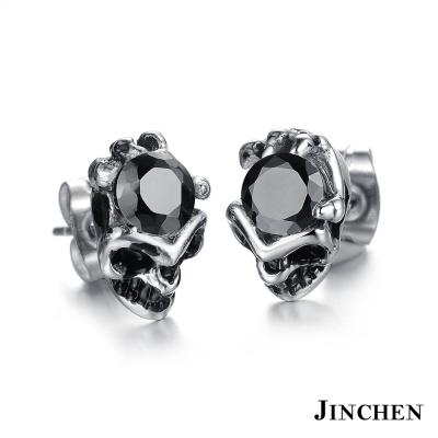 JINCHEN 白鋼骷顱耳環 黑鑽(單個價)