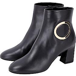 Roger Vivier Chunky Anneau 金屬環飾粗跟踝靴(黑色)