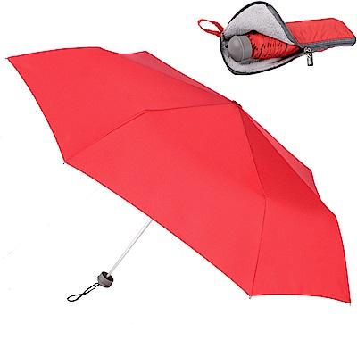 2mm Original拼色通勤輕量手開傘_附拉鍊式吸水傘袋 (紅色)