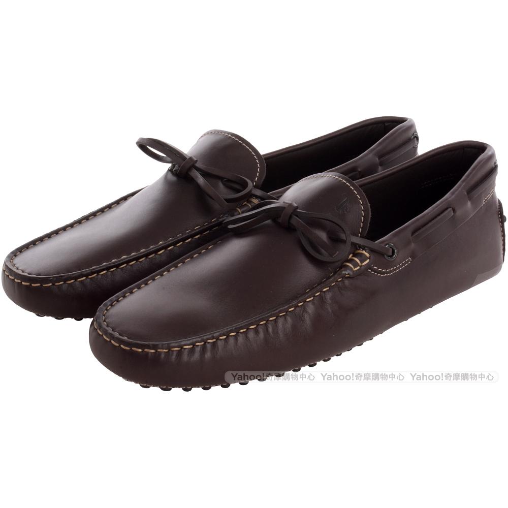TOD'S 深咖啡色牛皮綁帶豆豆休閒樂福鞋(男)