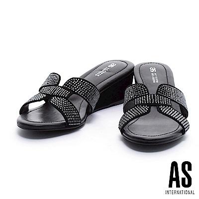 拖鞋 AS 奢華閃耀H型水鑽點綴麂皮高跟拖鞋-黑