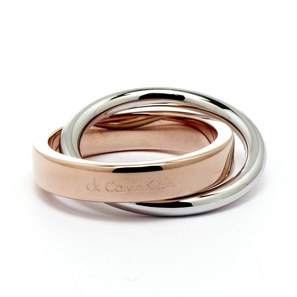 Calvin Klein CK coil雙環式愛戀玫瑰金時尚設計款戒指