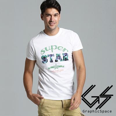 超級星星字母磨毛水洗T恤(共三色)-GraphicSpace