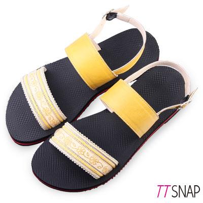 TTSNAP涼鞋-MIT夏日限定織帶平底鞋 黃