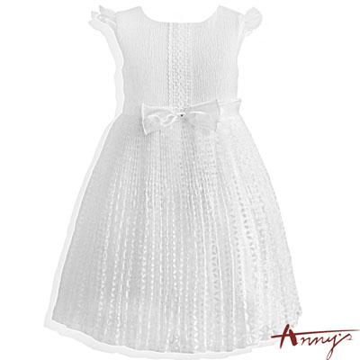 Annys優雅百摺鏤空雪紡花朵禮服-5114白