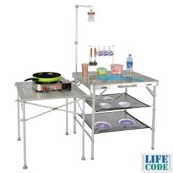 LIFECODE 多功能鋁合金料理桌(有湯杓架+燈架+鋁桌+置物網)