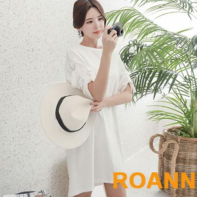 圓領素面五分袖洋裝 (白色)-ROANN