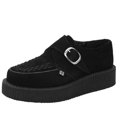 TUK VIVA輕量麂皮扣環龐克鞋-3CM-黑