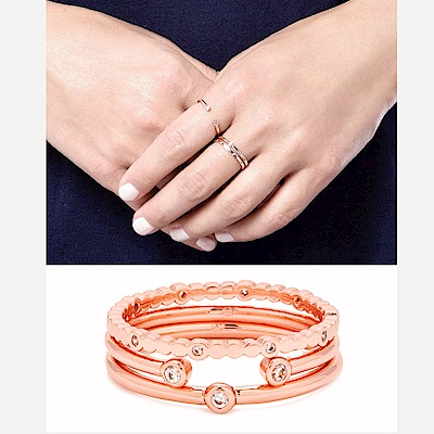GORJANA MEDLEY 單鑽 C型雙鑽 整圈10圓鑽 玫瑰金三環戒 可分開配戴