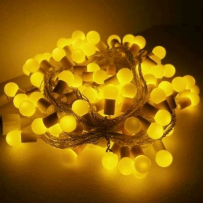 聖誕燈100燈LED圓球珍珠燈串(插電式/暖白光透明線/附控制器跳機)(高亮度又省電)