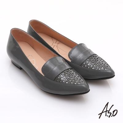 effie 輕透美型 鏡面羊皮混異材質樂福平底鞋 灰