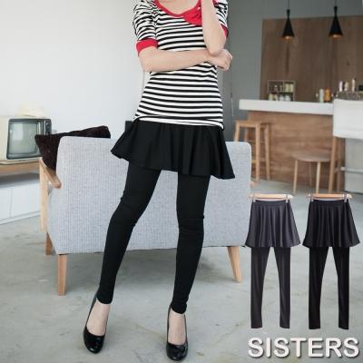 中大尺碼 顯瘦圓裙擺打折內搭褲 共二色-SISTERS