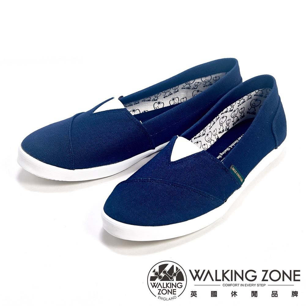 WALKING ZONE 素面輕便百搭帆布休閒女鞋-深藍