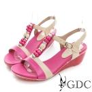 GDC-多彩繽紛串珠真皮T字楔型涼鞋-桃紅色