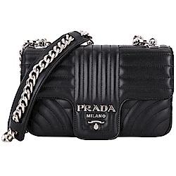 PRADA Diagramme 小款 絎縫小牛皮肩背鍊帶包(黑色)