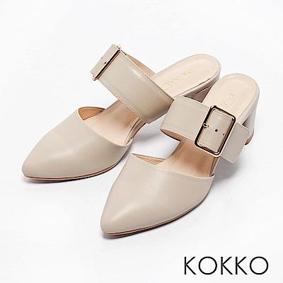 KOKKO -復古女伶金屬扣粗跟穆勒鞋-淡雅米