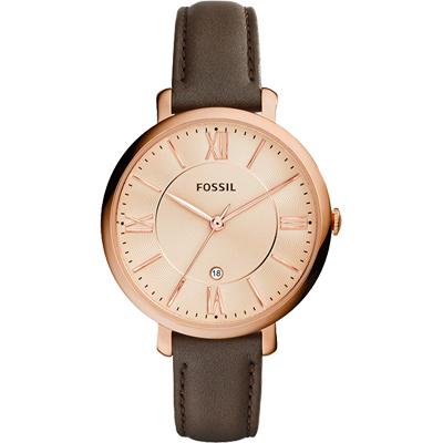 FOSSIL Jacqueline 羅馬風采時尚腕錶-玫瑰金x咖啡/36mm